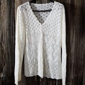 Sweaters - Lace knit cardigan